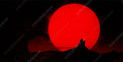 Artist's impression of the Sun as a red giant