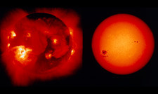 Comparison of visible & X-ray images of Sun