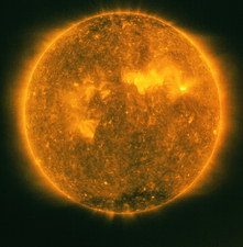 SOHO satellite image of the sun's atmosphere
