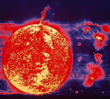 False-colour Skylab image of a solar prominence