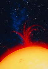 Artwork of Sun showing explosive prominence