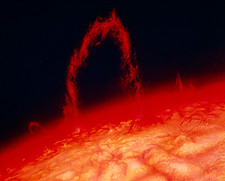 Artwork of solar prominence on surface of sun
