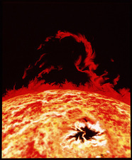 Artwork of solar prominence and sun spot
