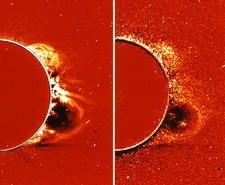 SOHO satellite images of a solar flare