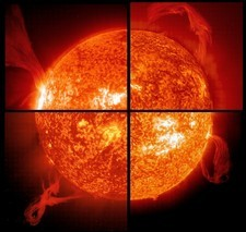 Four solar prominences
