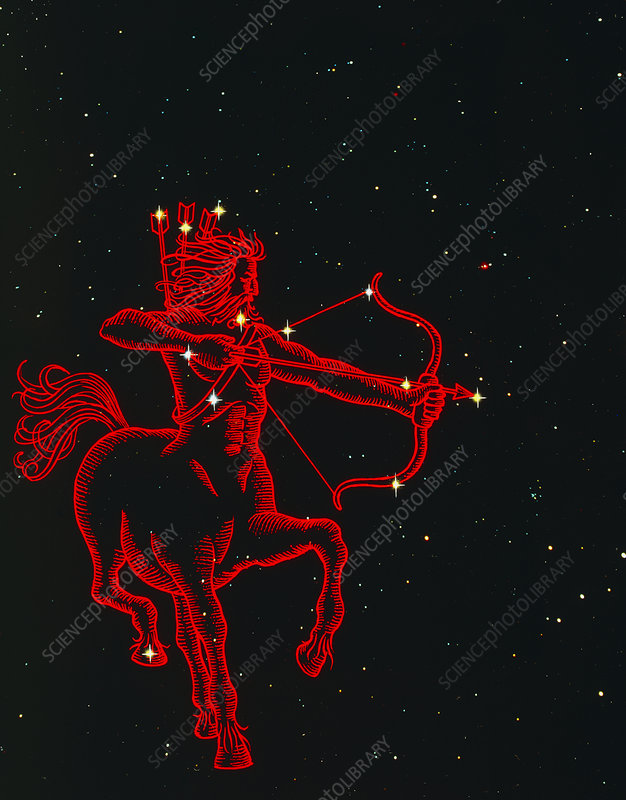 Sagittarius the archer, composite artwork & photo - Stock