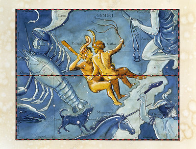 Historical artwork of the constellation of Gemini