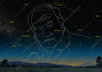 Astronomer Patrick Moore as constellation