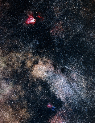 Optical image of Omega nebula in Milky Way field
