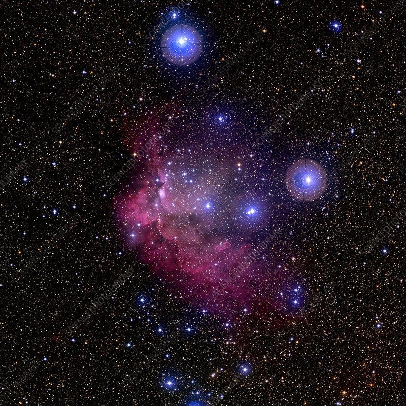 Emission nebula Sh2-142 and star cluster