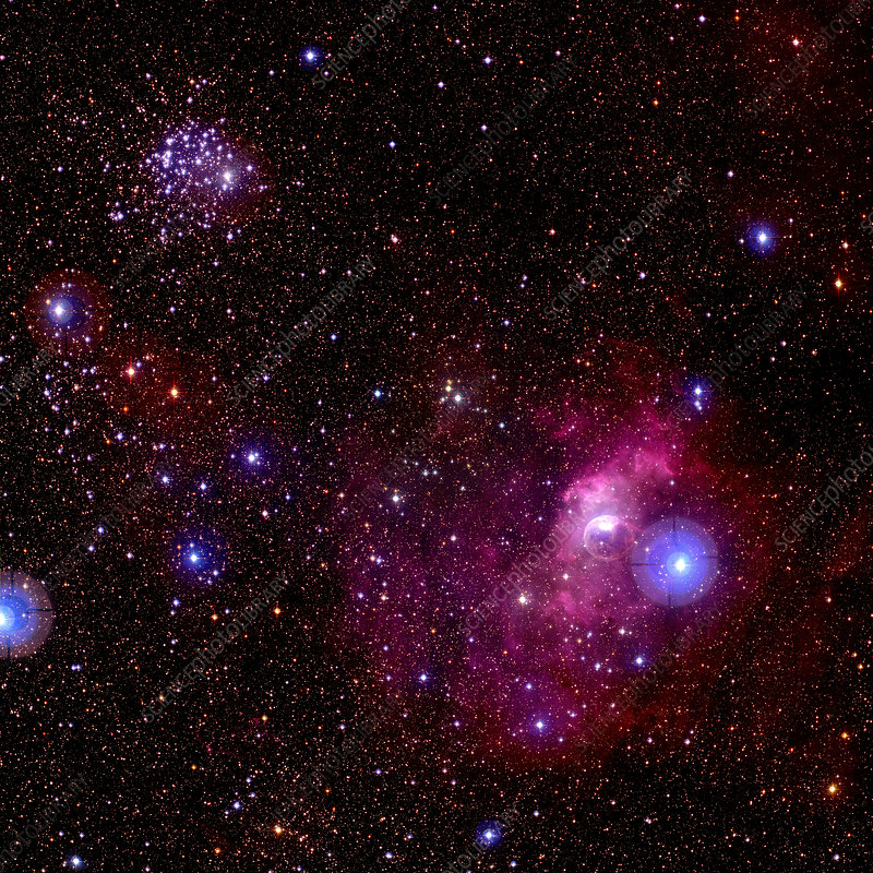 Bubble nebula and star cluster M52