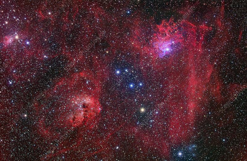 Emission nebulae, optical image