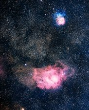 Optical image of the Lagoon and Trifid nebulae