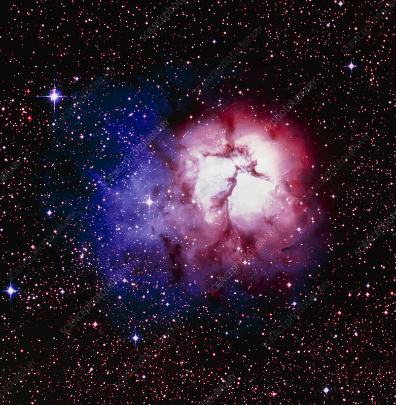 Optical image of the Trifid nebula in Sagittarius