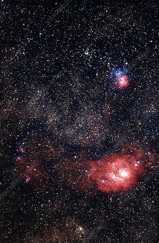 The Lagoon Nebula, Trifid Nebula, and M21