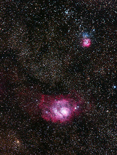 Lagoon (M8) and Trifid (M20) nebulae