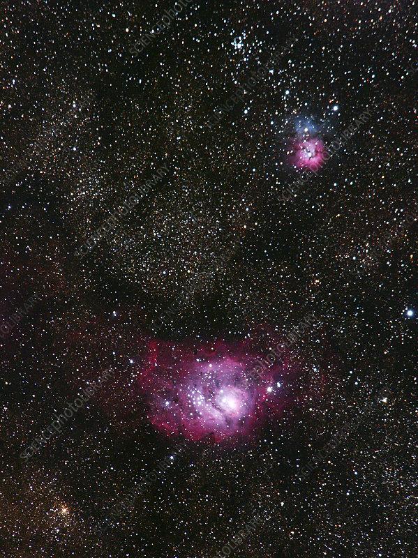 Lagoon (M8) and Trifid (M20) nebulae