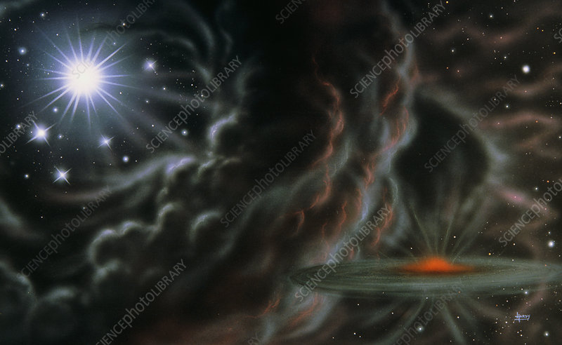 Illustration of starbirth in nebula w/supernova
