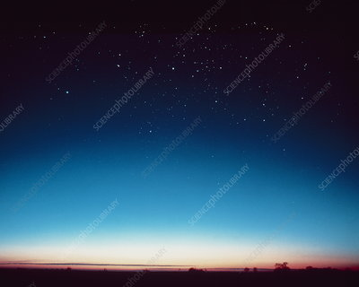 Composite photo of evening twilight and stars
