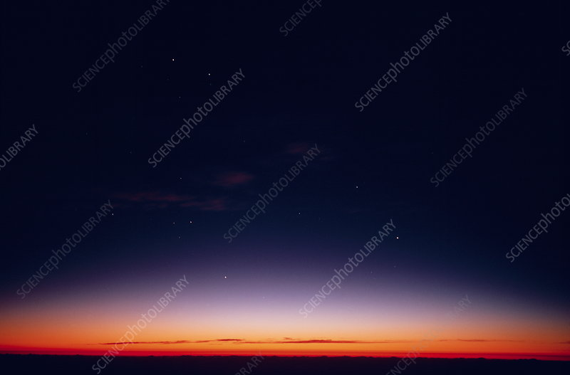 Stars in the afterglow of sunset