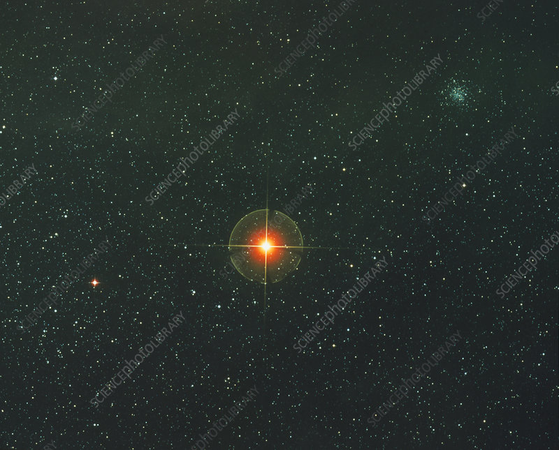 Starfield With The Red Supergiant Antares - Stock Image ...