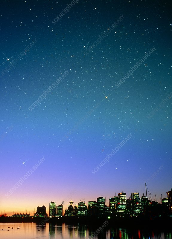 Starry sky over Vancouver, Canada
