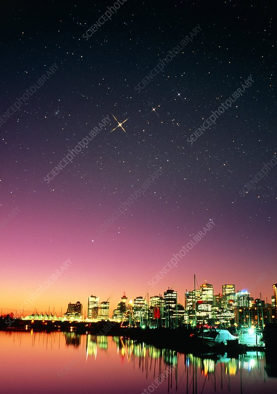 Starry sky over Vancouver