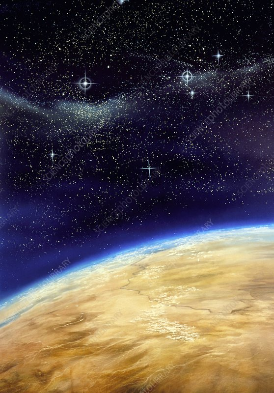 Illustration of part of the Earth on a starfield