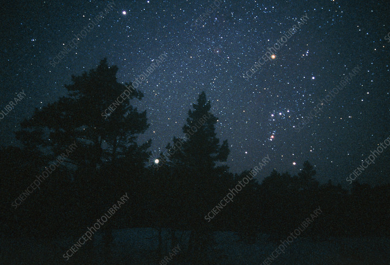 Starfield including Orion, Sirius & Betelgeuse