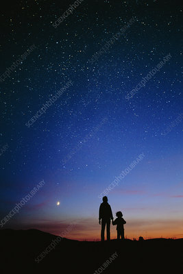 Starry sky and stargazers