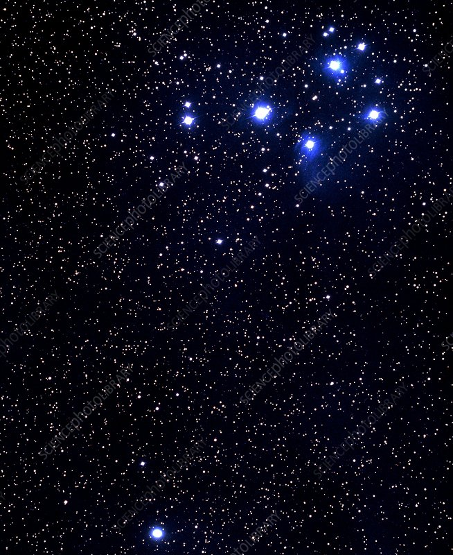 Optical photo of the Pleiades & Halley's Comet