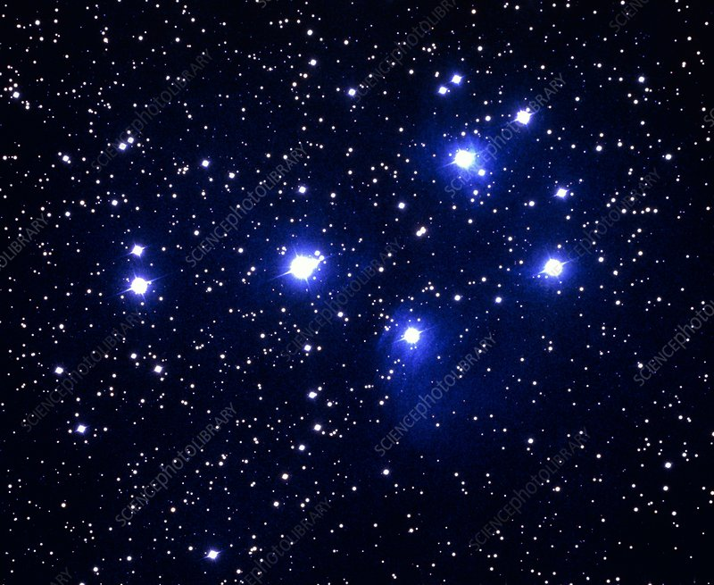 Optical photo of the Pleiades star cluster