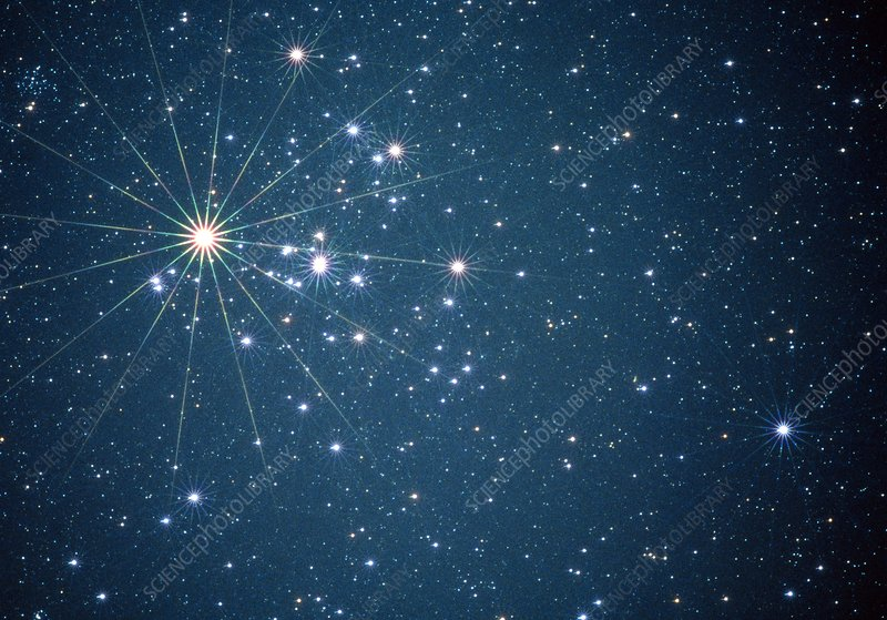 Optical image of the Hyades open star cluster
