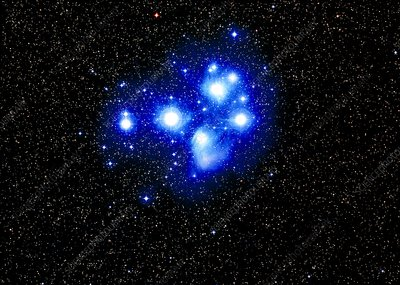 Optical image of the Pleiades star cluster