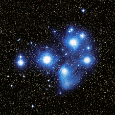 Optical image of the Pleiades star cluste