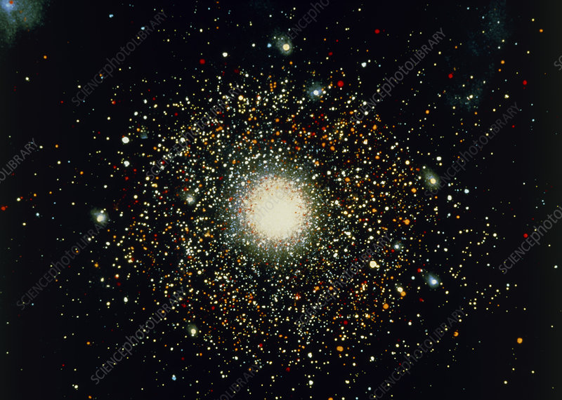 Artwork of a globular cluster
