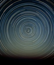 Time-exposure photo of polar star trails
