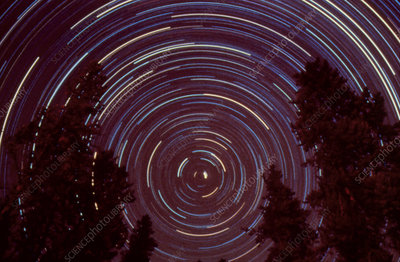 Star trail centred on the Polaris star