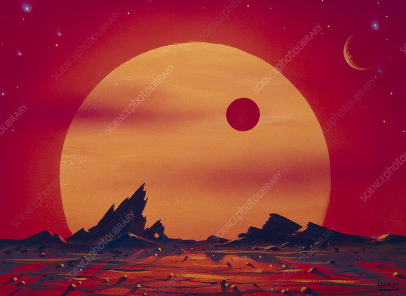 Artwork of a red giant star seen from a planet