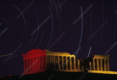 Star trails over Parthenon