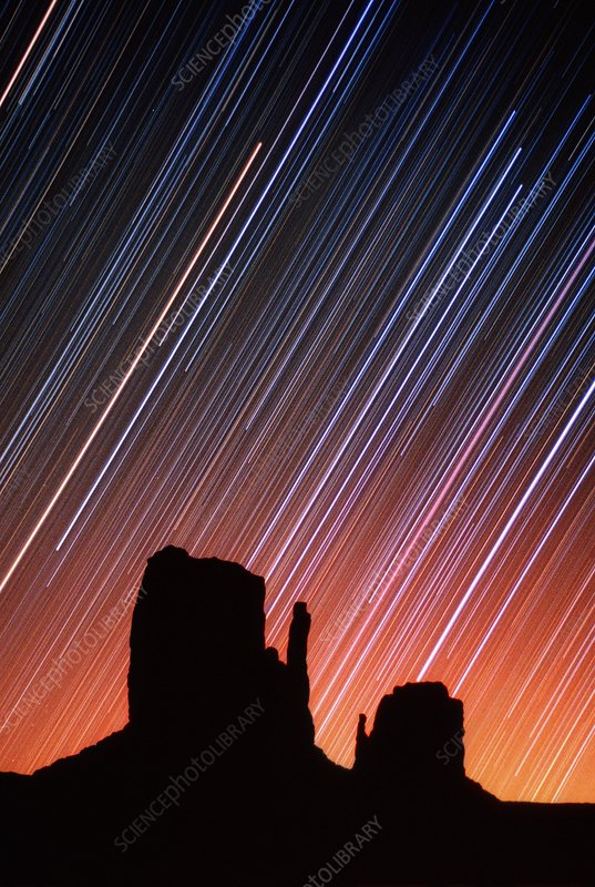 Star trails over Monument Valley, USA