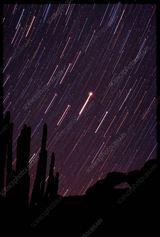 Time-exposure photograph of star trails