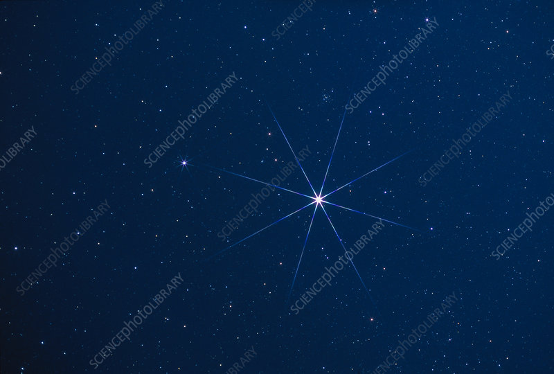 Optical photo of the star Sirius using star filter