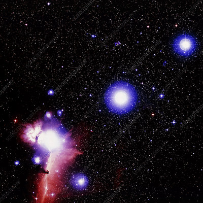 Optical image of the stars of Orion's belt