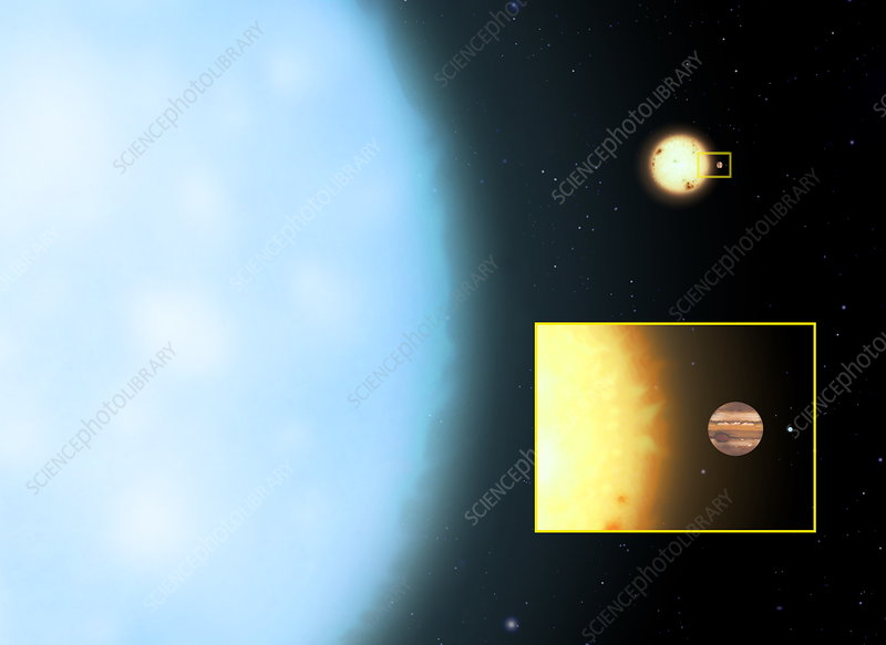 Supergiant star and Sun