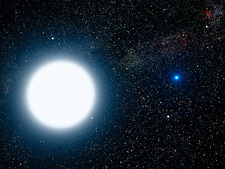 Sirius binary star system, artwork