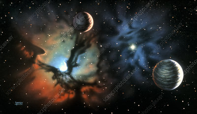 Artwork showing Earth-like planet & Trifid Nebula