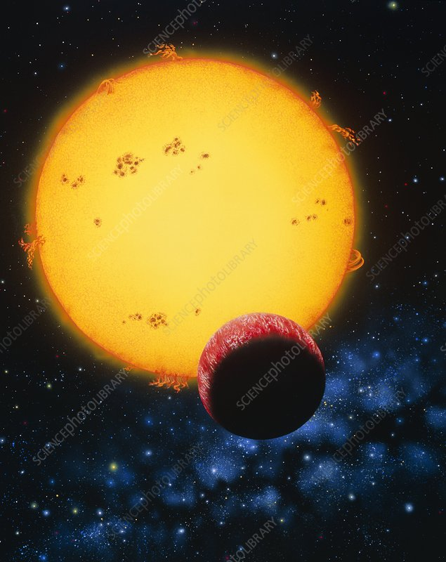 Artwork depicting the planet 51 Pegasi B & its sun