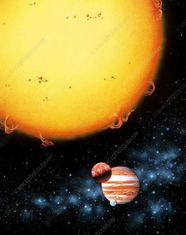 Artwork of a 51 Pegasi B size comparison.