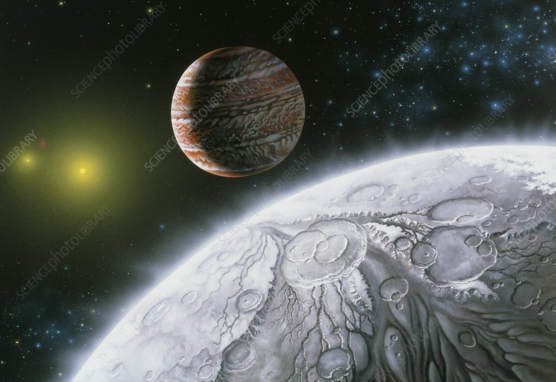 Artwork of the planet of star 16 Cygni B & a moon